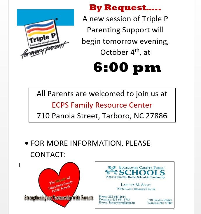 Parenting Support Class Offered at ECPS Family Resource Center Thumbnail Image