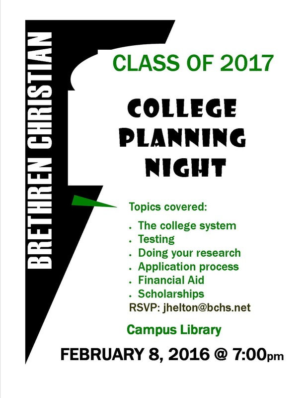 Juniors 2017 and Parents ~ Begin Planning for College