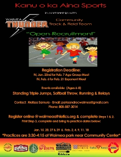 Open Recruitment for Waimea Thunder - Community Track & Field Team