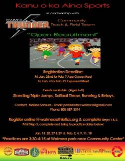 Open Recruitment for Waimea Thunder - Community Track & Field Team