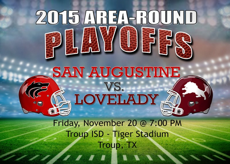 Playoff Game Against the LoveLady Lions @ Troup Stadium Starting @ 7:00 PM on Friday, November 20th!