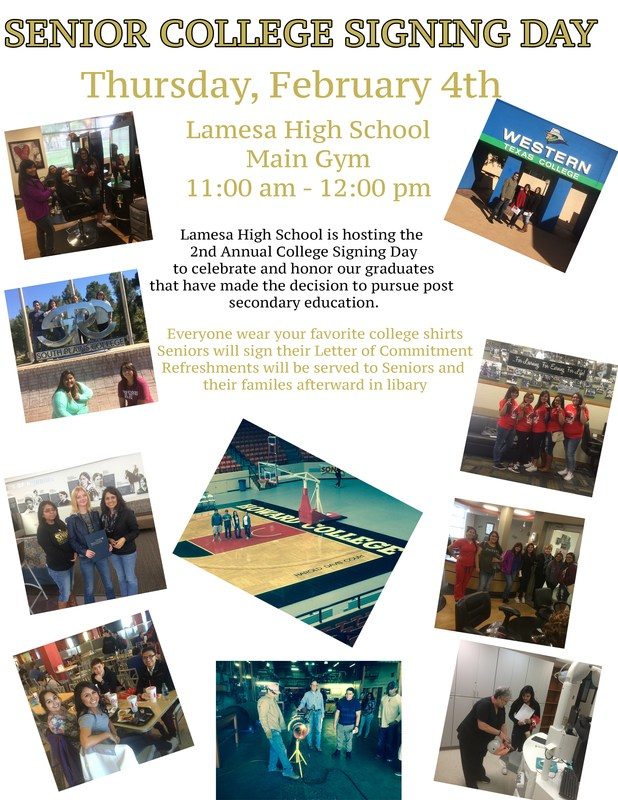 College Signing Day - Thursday, Feb 4th @ LHS