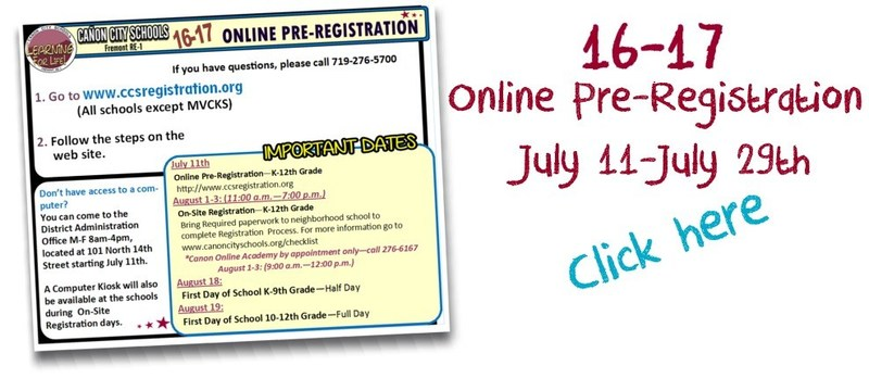 Online Pre-Registration is Open July 11-29th, 2016 Thumbnail Image