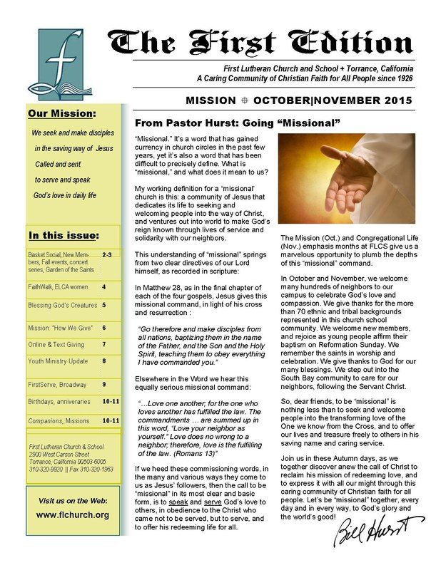 First Edition - Church Newsletter