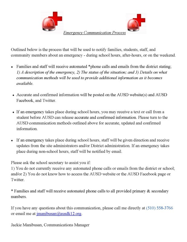 EMERGENCY COMMUNICATION PROCESS (PARENTS, STUDENTS, STAFF, & COMMUNITY)
