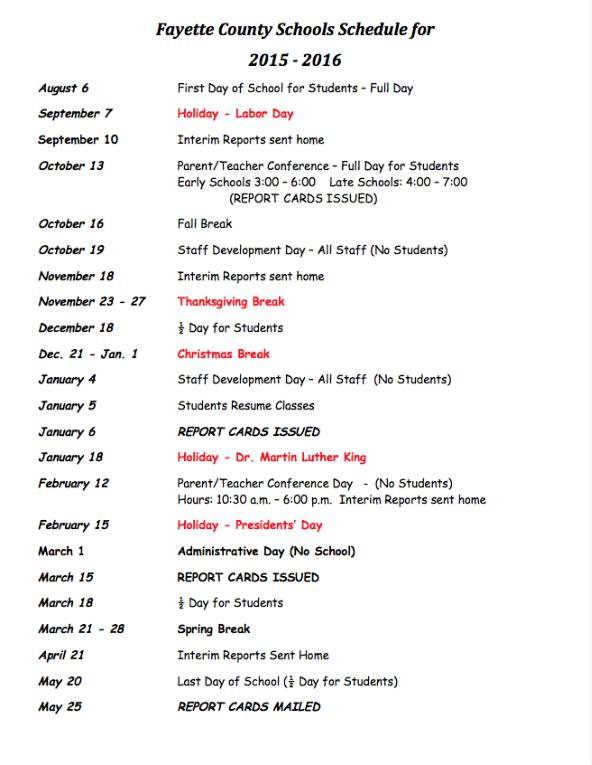 Fayette County Schools 2015-2016 Schedule/Calendar