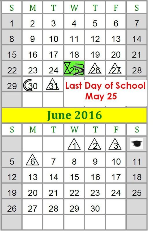 Revised 2015-2016 LISD School Calendar