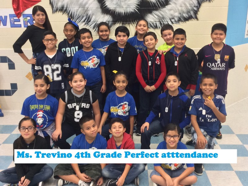 Congratulations to Ms. Trevino's 4th Grade Class for Perfect Attendance Thumbnail Image