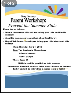 Parent Workshop- Prevent the  Summer Slide