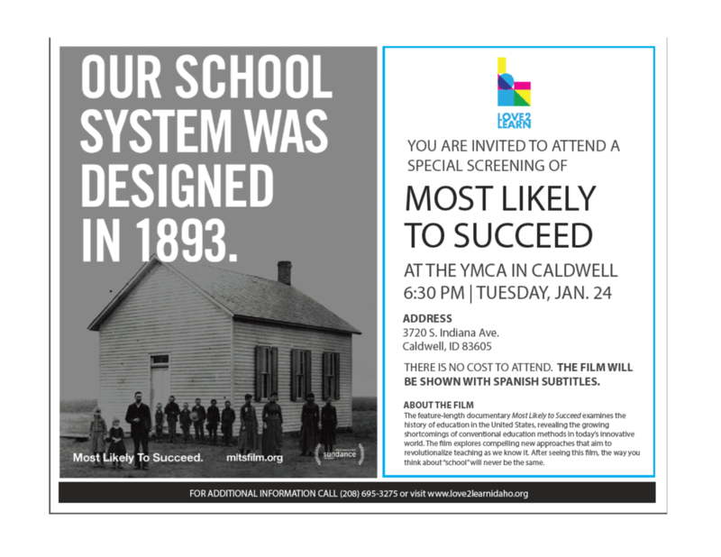 Special Invite: Free showing of education documentary Most Likely to Succeed in Caldwell Thumbnail Image