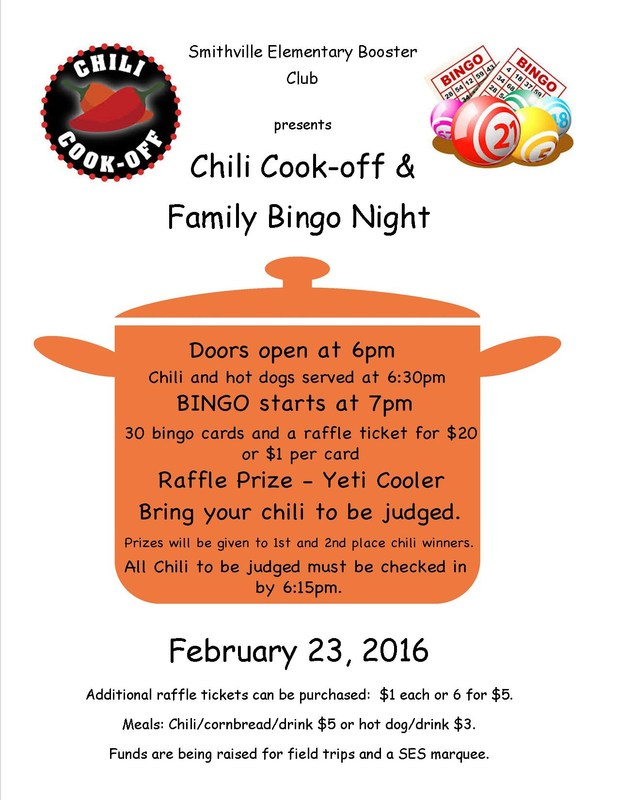 SES Booster Club to Host Chili Cook-off and Bingo Night