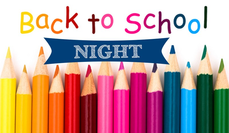 Back to School Night on Wed, Sept. 2 (6:30-8:00PM)