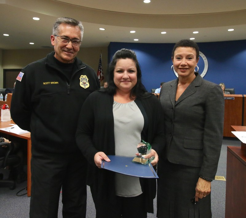 Chief of Fire Scott Brown, Bus Driver Cristina Dever, and Deputy Superintendent Dr. LaFaye Platter