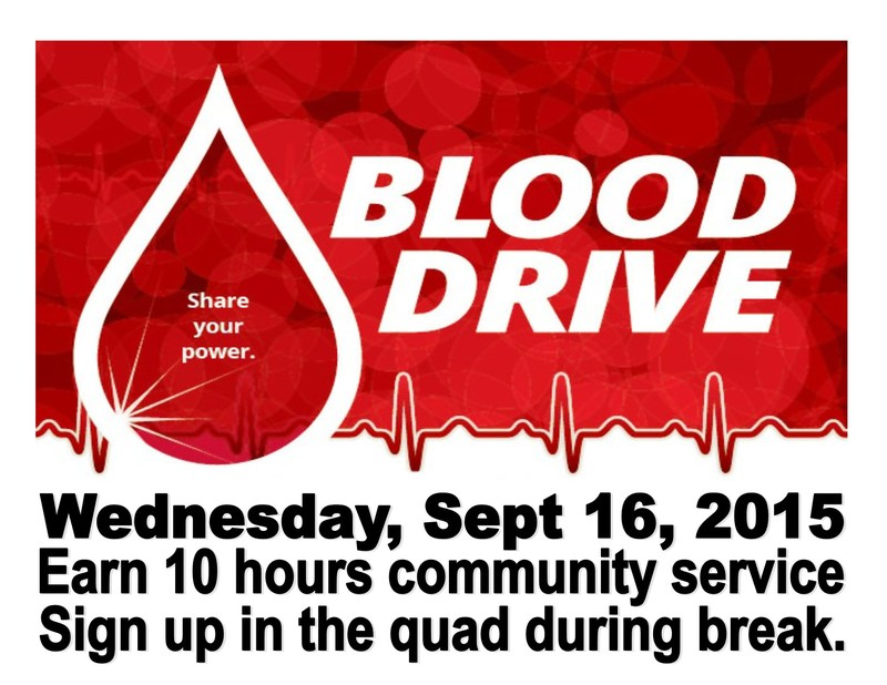 Blood Drive - Wednesday Sept 16, 2015