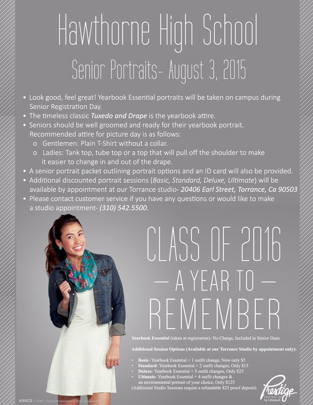 CLASS of 2016!! SENIOR PICTURES INFORMATION