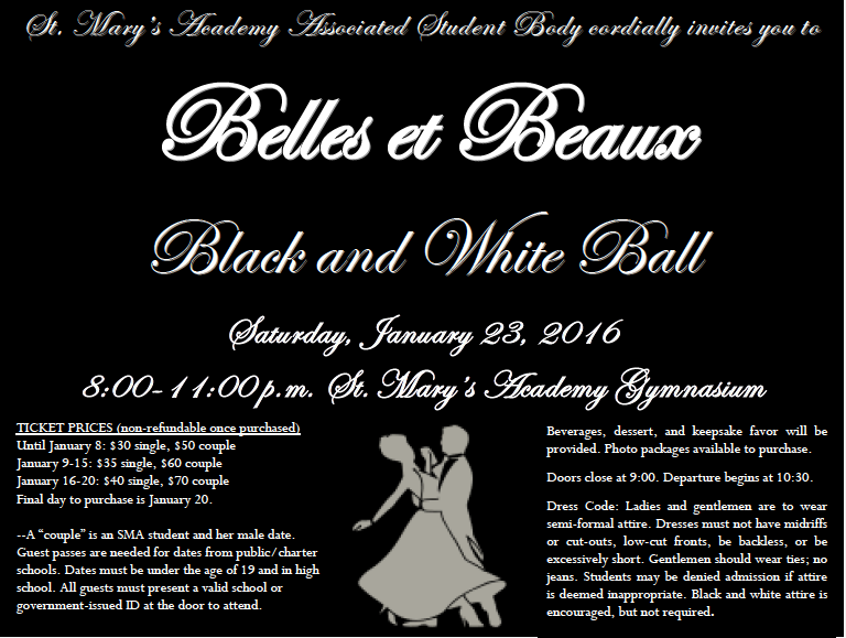 ***ATTENTION BELLES! Important Winter Formal Information!