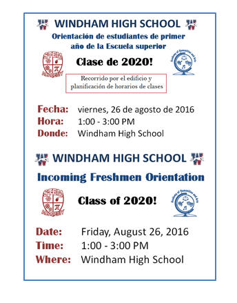 Welcome to the Class of 2020: High School Freshmen Orientation Aug. 26 Thumbnail Image