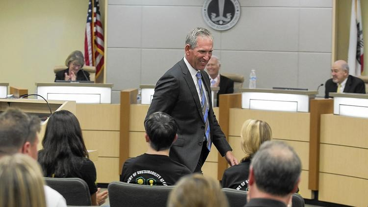 The district's new Superintendent, Dr. Clint Harwick, addresses the Board of Trustees after he is accepted.