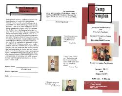 Summer Transition Camp for Incoming Sixth Graders AND Students New to Covington Middle School Fine Arts Academy