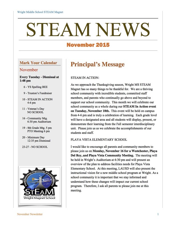 November 2015 Wright STEAM Newsletter