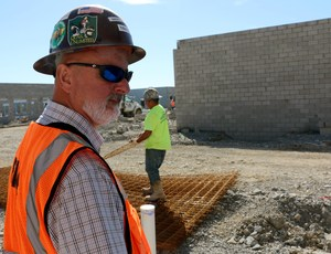 Rutherford County Schools project manager Trey Lee inspects the construction site at Rocky Fork Middle School, which will open in August.