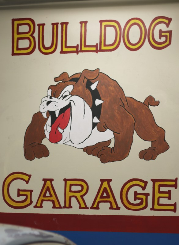 Bulldog garage with the Hemet High School mascot.