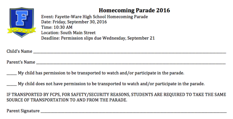 Permission form for 2016 Homecoming Parade Thumbnail Image