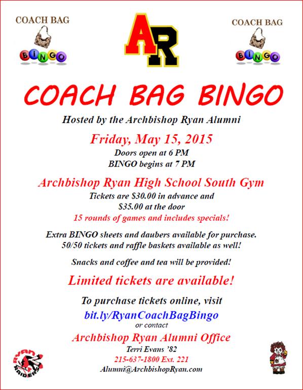 Archbishop Ryan Coach Bag Bingo