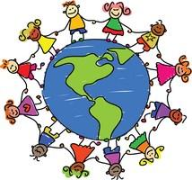 graphic of children holding hands around globe