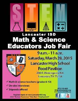 Lancaster ISD Announces a Math & Science Job Fair for Teachers (Grades 6-12)