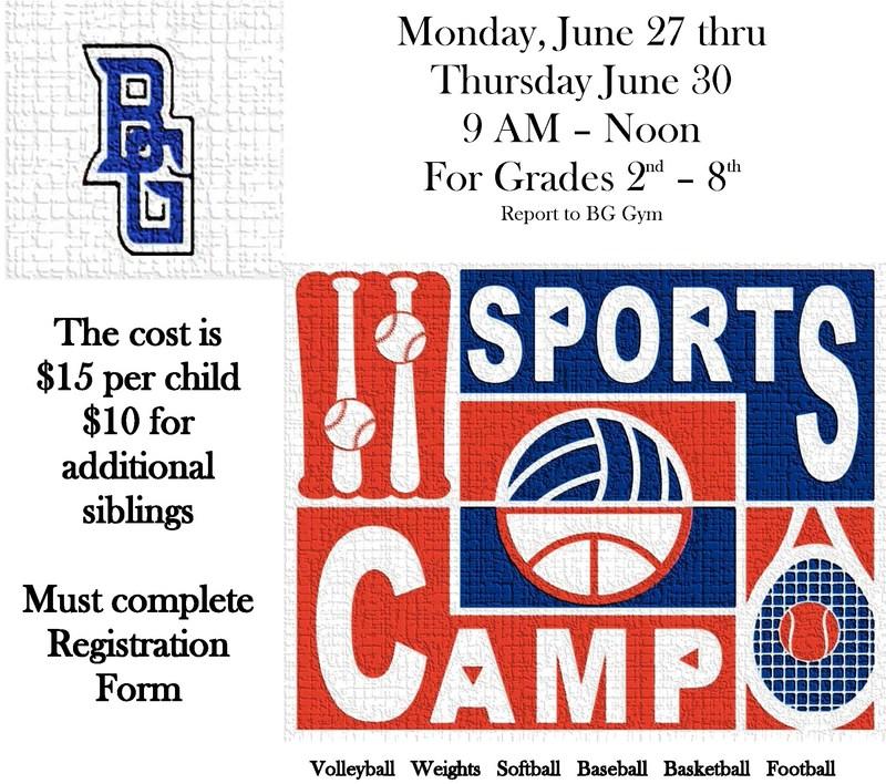 BG Sports Camp June 27-30 Thumbnail Image