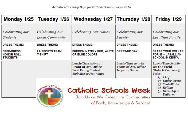 Celebrating Catholic Schools Week - January 25-29
