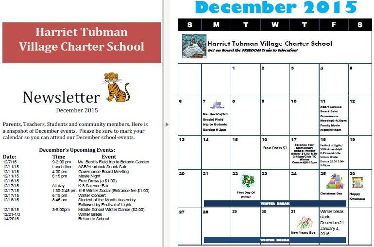 December Newsletter and Calendar